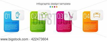 Set Line Golf Glove, Shirt, Club And Sun Visor Cap. Business Infographic Template. Vector