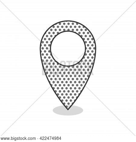 Pin Point Icon. Location Icon With Texture. Navigation Point Sign. Vector Illustration