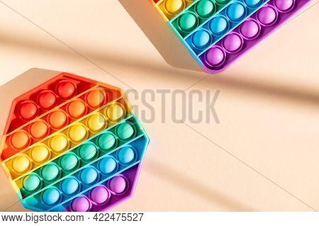 Rainbow Push Pop It Bubble Sensory Fidget Toy, Sensory Silicone Toys For Autism, Fidget Popper, Anti