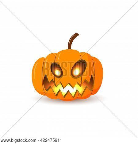 Halloween Pumpkin Icon. Autumn Symbol. 3d Design. Halloween Scary Pumpkin Face Smile, Candle Light,