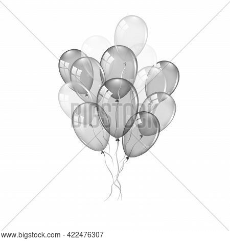 Balloons 3d Bunch Set, Thread, Isolated White Background. Transparent Glossy Flying Baloon, Ribbon,