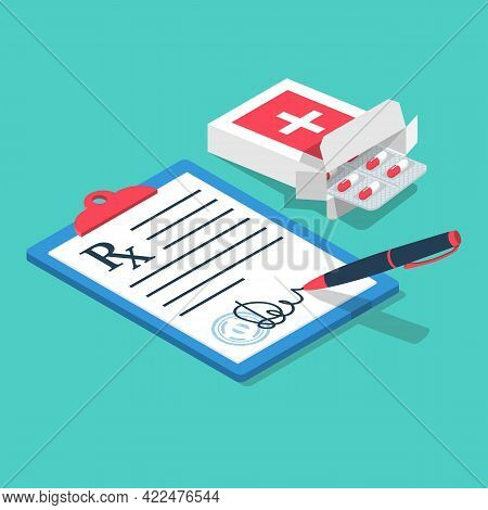 Blister Pills Issued By Prescription. Clipboard With A Pen. Medical Rx Prescription Form. Vector Ill