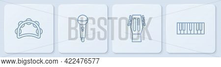 Set Line Tambourine, Guitar, Microphone And Music Synthesizer. White Square Button. Vector