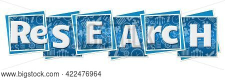 Research Text Alphabets Written Over Blue Background.