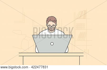 Modern Technologies And Working In Office Concept. Young Positive Bearded Man Cartoon Character In G