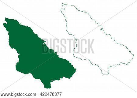 Wardha District (maharashtra State, Nagpur Division, Republic Of India) Map Vector Illustration, Scr
