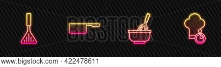 Set Line Kitchen Whisk With Bowl, Barbecue Spatula, Saucepan And Chef Hat. Glowing Neon Icon. Vector