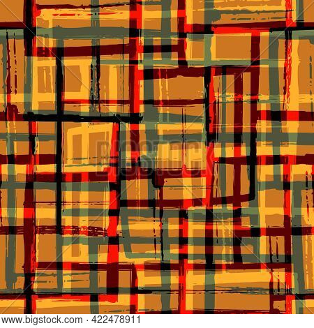 Abstract Painted Mid-century Modern Vector Seamless Pattern Background. Ochre Sage Green Red Grid Ba