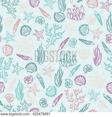 Marine Vector Seamless Background From Hand Drawn Sea Shells And Stars. Nautical Pattern With Shellf