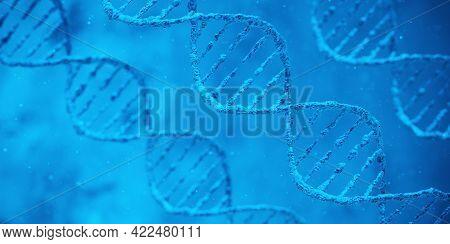 Dna Biotechnology Science Medicine Genetic Concept. 3d Render Illustration