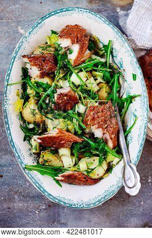 Smoked Macereland And Potato Salad Style Rustic.selective Focus