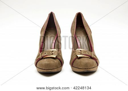 A pair of Brown High Heels on a White Background poster