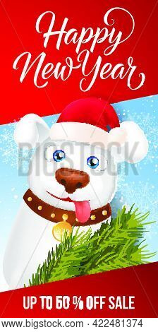 Happy New Year Fifty Percent Off Sale Lettering With Illustration Of Cartoon Dog In Christmas Hat An