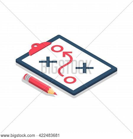 Planning Strategy Concept. Business Tactic. Clipboard Pencil. Vector Illustration Isometric Design.