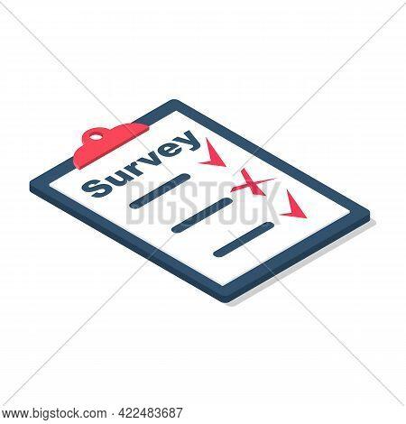 Survey Concept. Poll Opinion Survey. Checklist In Clipboard. Small Businessman Cartoon Style. Vector