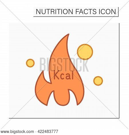 Fat Burner Color Icon. Burning Calories.energy Value. Calorie Count. Nutrition Facts.healthy, Balanc