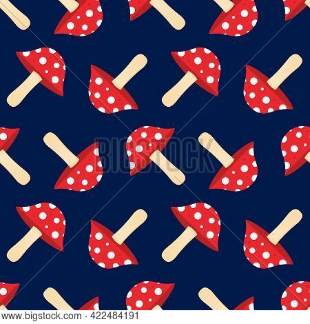 Cute Cartoon Style Inedible Mushroom With Dotted Red Cap, Toadstool, Fly Agaric Mushrooms Vector Sea