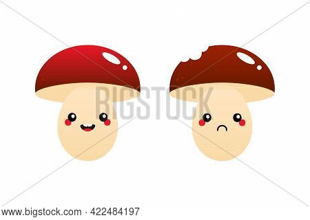 Couple Of Cute Cartoon Style Mushroom Characters Smiling, Happy And Sad With Bite Mark.