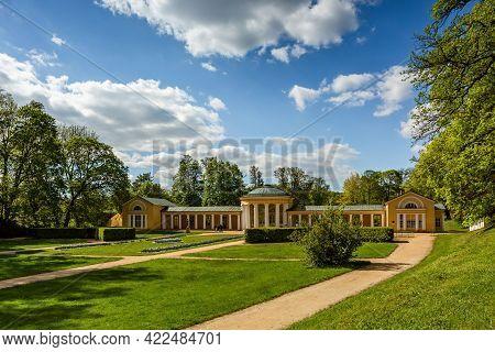 Marianske Lazne, Czech Republic - June 1 2021: The Ferdinand Spring Pavilion, A Yellow Building, Sta