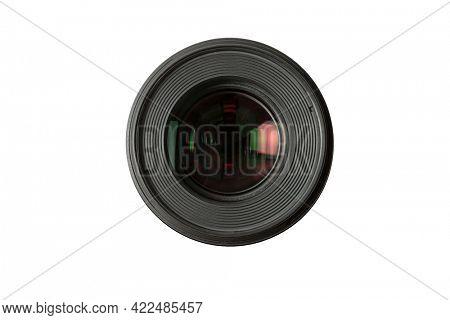 Black photo lens isolated on white background