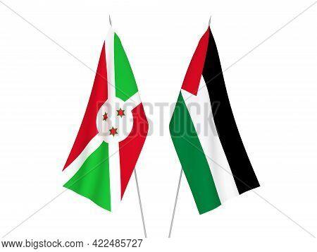 National Fabric Flags Of Palestine And Burundi Isolated On White Background. 3d Rendering Illustrati