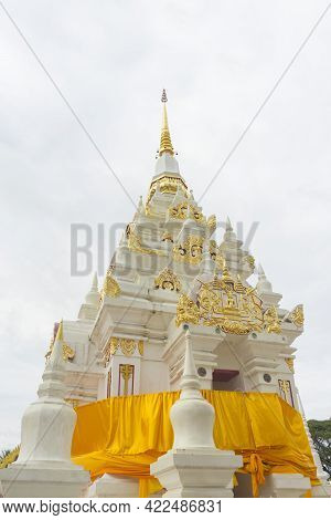 White Chedi Of Wat Phra Borommathat Chaiya In Chaiya, Surat Thani, Thailand.