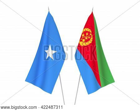 National Fabric Flags Of Somalia And Eritrea Isolated On White Background. 3d Rendering Illustration