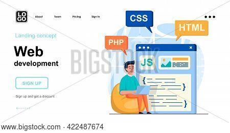 Web Development Concept. Man Develops Product, Webpage Layout, Posting Content, Coding Code. Templat