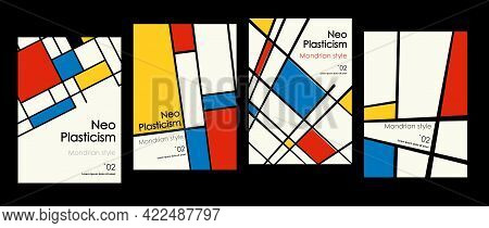 Modern Set Of Covers, Posters Inspired By Mondrian S Postmodern. Neoplasticism, Bauhaus. Useful For