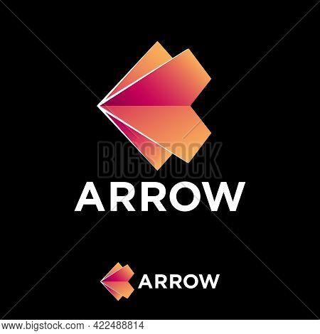 Arrows Logo. Arrow Like Origami Figure. Logistic, Delivery Logo, Isolated On A Black Background. Ori