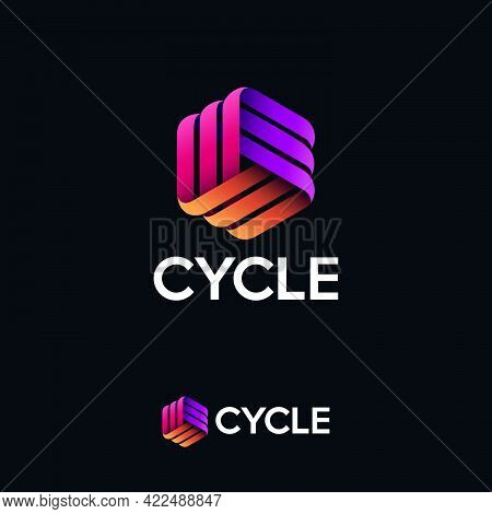 Cycle Logo. Three Ribbons, Intertwined Elements, Infinity, Looping, Rotation, Solid Figure. Monogram