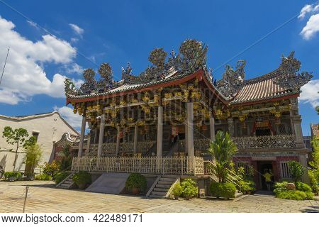Penang, Malaysia - February 14,2019 : Exterior View Of Leong San Tong Khoo Kongsi Clanhouse Against