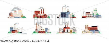 Set Of Power Stations And Plants For Energy Generation. Different Types Of Factory Buildings Of Heav