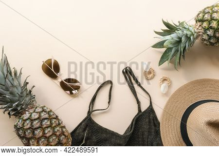 Women's Summer Clothes, Accessories And Pineapples. Beauty, Fashion, Summer Vacation Concept. Top Vi