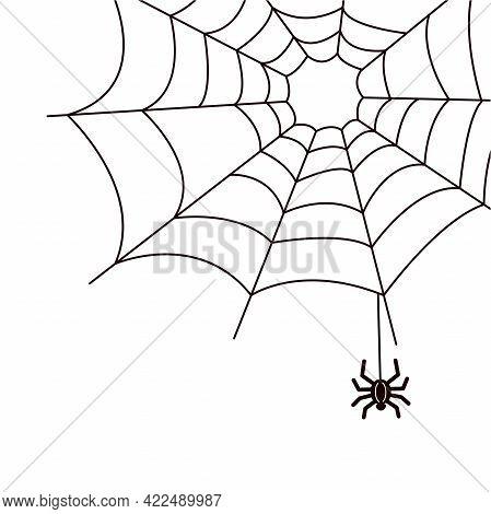 Spider And Cobweb In The Corner. Decorative Element For Design, Black And White Simple Vector Illust
