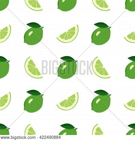 Cute Seamless Bright Pattern Of Citrus Fruits On A White Background. Print With Whole Lime, Slices A