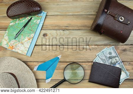 Travel Accessories Costumes. Passports, Luggage, The Cost Of Travel Maps Prepared For The Trip. Top