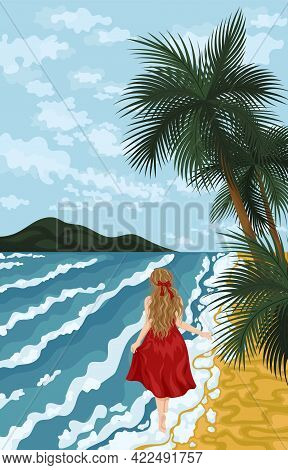 Travel Concept Of Discovering, Exploring And Observing Nature. Hiking. Woman Walking Alone, Enjoy Sc