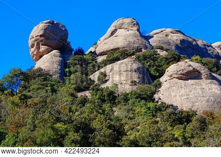 Jagged Mountains And Spectacular Scenery . Sant Jeroni Summit Of Montserrat