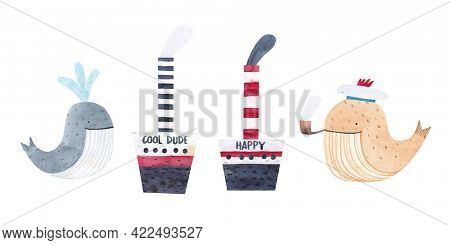 Watercolor set - steamers and funny whales.