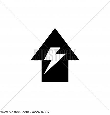 Home And Flash, Electricity House. Flat Vector Icon Illustration. Simple Black Symbol On White Backg