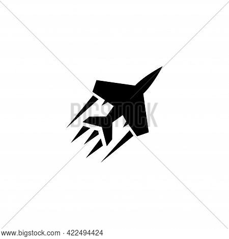 Flying Fighter Jet, Military Aircraft. Flat Vector Icon Illustration. Simple Black Symbol On White B