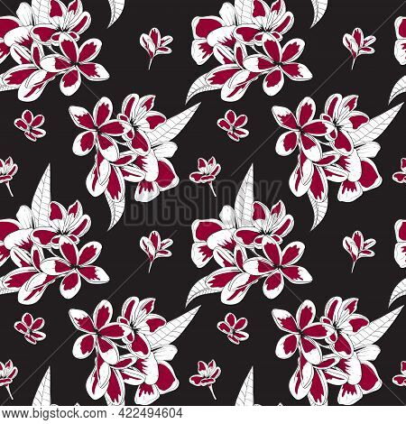 Seamless Floral Pattern With Red Flowers On Black Background. Plumeria Flowers. For Textile, Paper,