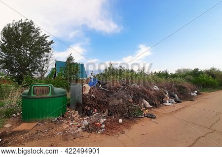 The Littered Place Of Collection Of Household Garbage The Problem Of Waste Removal To The Landfill.