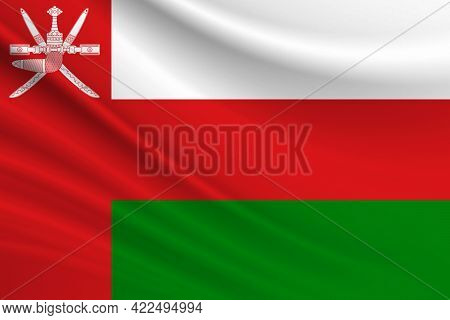 Flag Of Oman. Fabric Texture Of The Flag Of Oman.