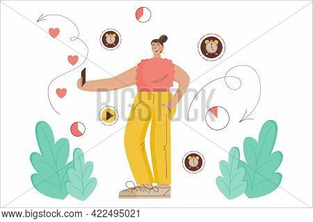 Concept Ephemeral Content. Woman Blogger Records Temporary Content With Limited Time. Vector Illustr