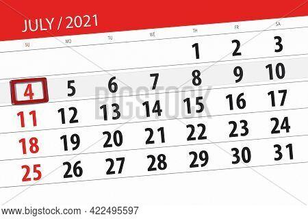 Calendar Planner For The Month July 2021, Deadline Day, 4, Sunday