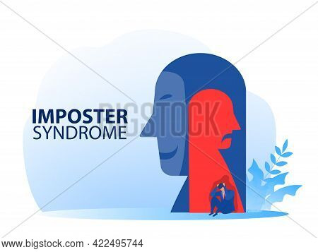 Imposter Syndrome. Businessman Sitting Sad With Mask Happy And Anxiety And Lack Of Self Confidence A