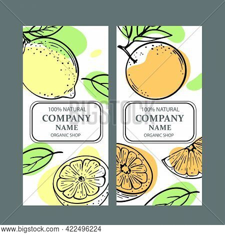 Lemon Orange Labels Stickers And Labels Design For Shop Of Organic Natural Products And Dessert Drin