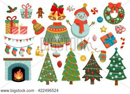 Collection Of Christmas Stickers, Decorations, Holiday Gifts, Winter Knitted Woolen Clothes, Ginger